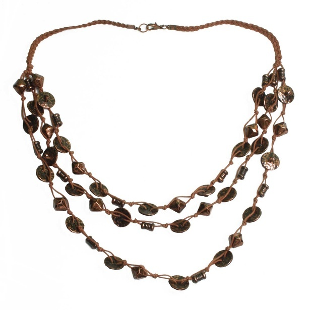 Three Layered Metal Bead Brown Cotton Thread Necklace