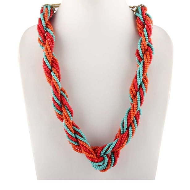 Alloy Metal Seed Bead Multi-Color Strand Necklace