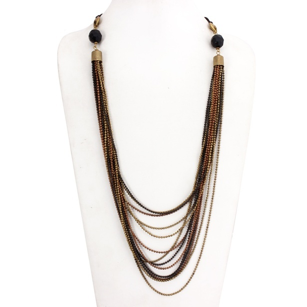 Multi-Strand Gold Gun Metal Copper Necklace at Sangeeta Enterprises