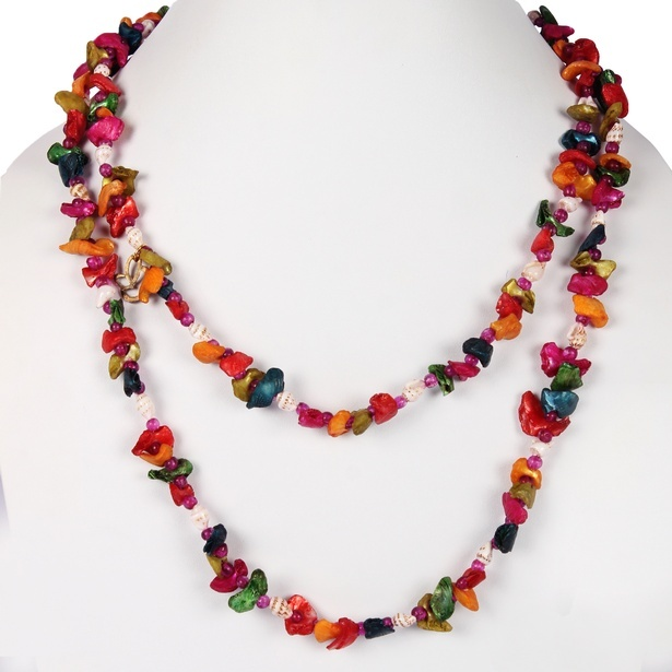 Kaleidoscopic Shell Glass Bead Multi Color Strand Necklace