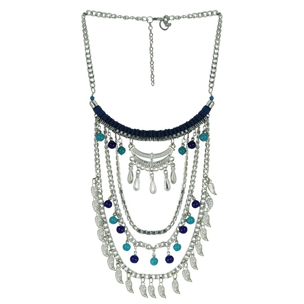 Queenly Silver Metal and Blue Glass bead Multi-Strand Necklace