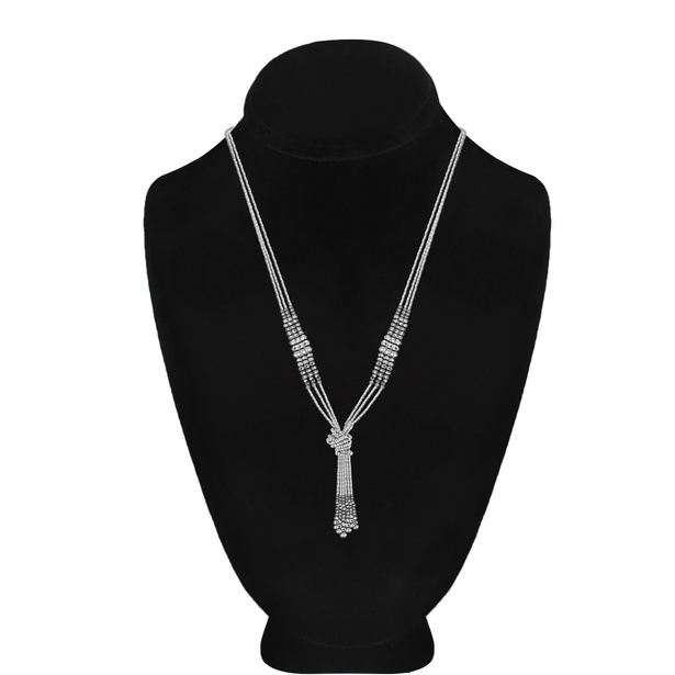 Alloy Metal Seed Bead Silver Tassel Necklace
