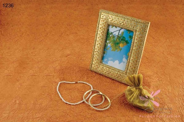 Glass, sequins, metal and satin photo frame - Home decor products by Sangeeta Enterprises