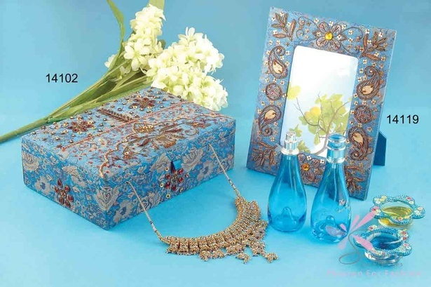 Glass, sequins, metal and fabric Photo Frame in blue colour - Home decor products by Sangeeta Enterprises