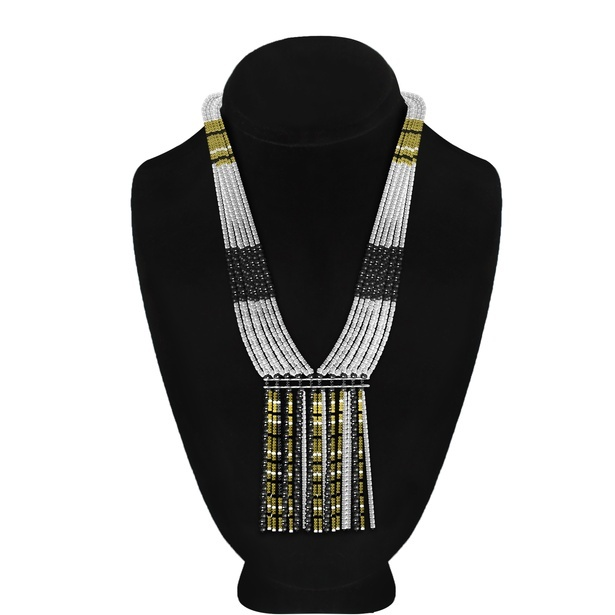 New Style Alloy Metal Black Gold Seed Bead Tassel Necklace