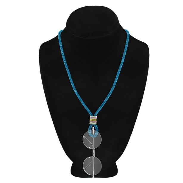 2-in-1 Spectacles Hanging Single Strand Lightweight Aqua Seed Bead Necklace