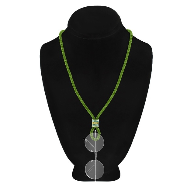 2-in-1 Spectacles Hanging Single Strand Light Weight Peridot Seed Bead Necklace