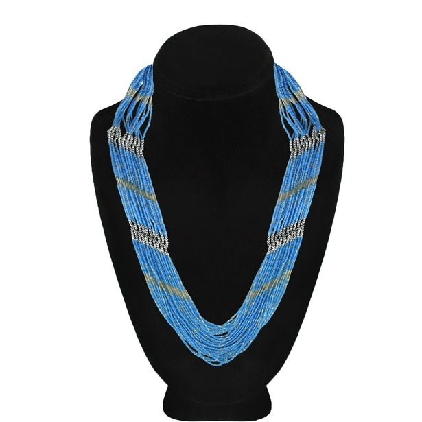 Dark Blue Larimar-Color Waterfall Beaded Necklace