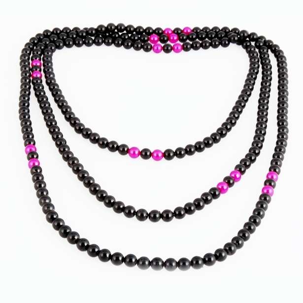 Long String Acrylic Black Pink Strand Necklace