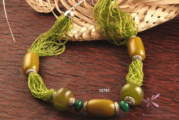 Multi Row beaded necklace in olive green colour