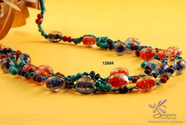 Stylish multicolour beaded necklace at Sangeeta Enterprises - Fashion Jewellery Suppliers India