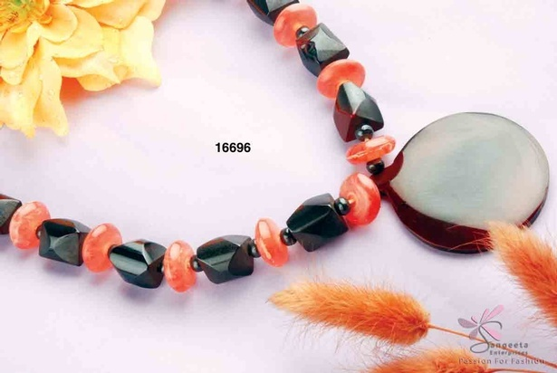 Orange and black colour resin necklace at Sangeeta Enterprises - Fashion Jewellery Manufacturers India