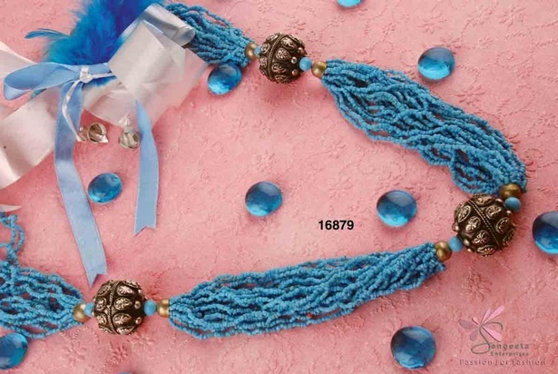 Chunky seed beads multi-row necklace in sky blue colour