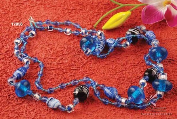Pretty and attractive double-row, glass beads and seed beads necklace in medium blue colour