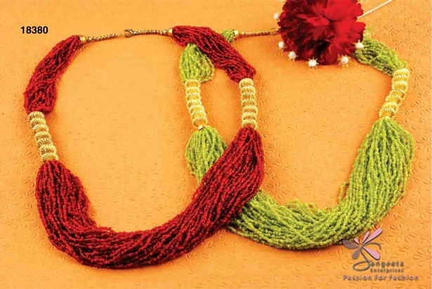 Seed beads and bone necklace in red and parrot green colour