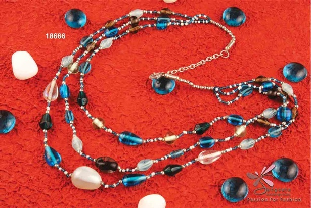 Triple strands chain necklace with glass beads at Sangeeta Enterprises