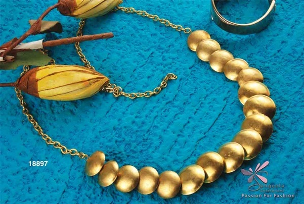Metal necklace in gold colour at Sangeeta Enterprises - India Fashion Jewellery Manufacturers