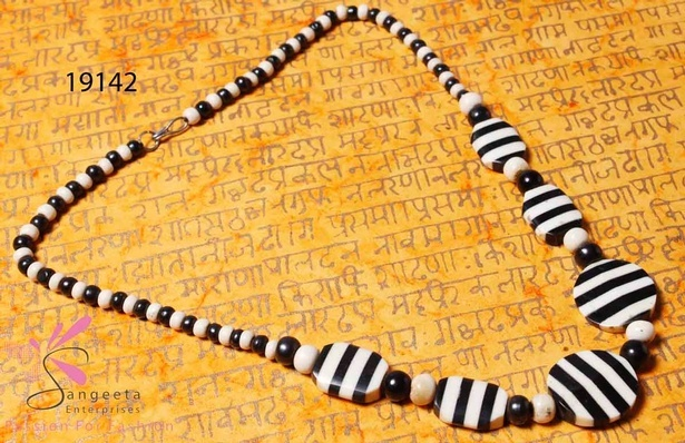 Black and white beaded necklace at Sangeeta Enterprises