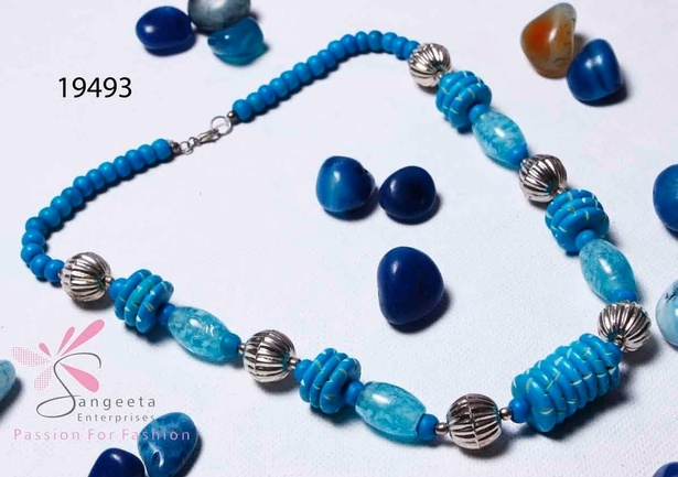 Blue and Silver colour beaded necklace at Sangeeta Enterprises
