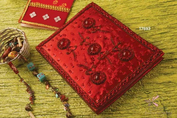 Beautifully embellished ruby red Fabric notebook by Sangeeta Enterprises