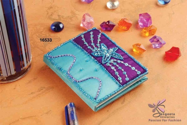 Fabric, sequins, seed beads and bugle beads notebook in blue and purple