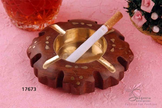Unusually shaped Wooden ashtray in Chocolate brown colour