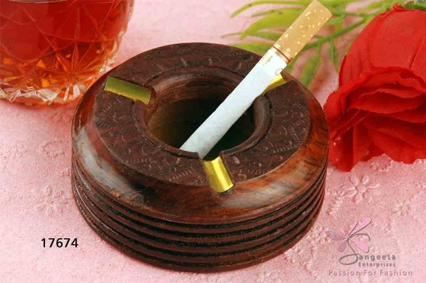 Deep, rich chocolate brown and brass ashtray of wood and metal