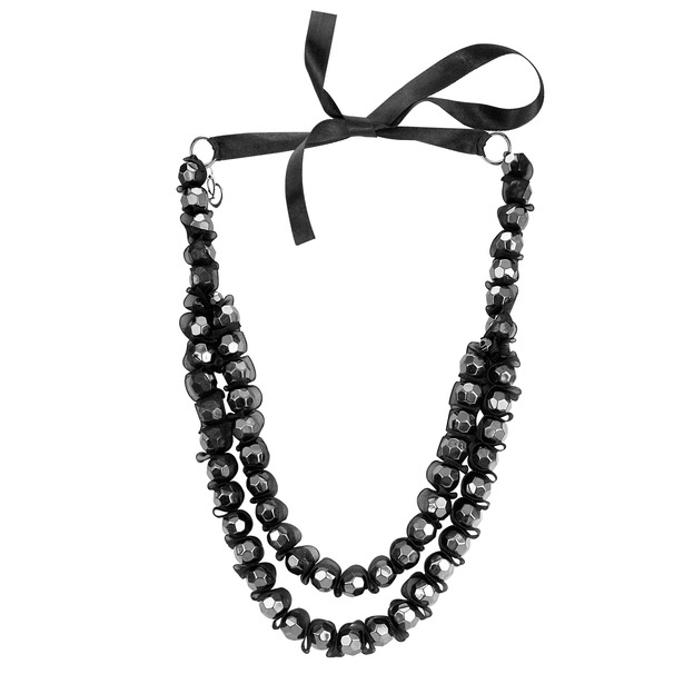 Metal acrylic beads multi-strand necklace with ribbon