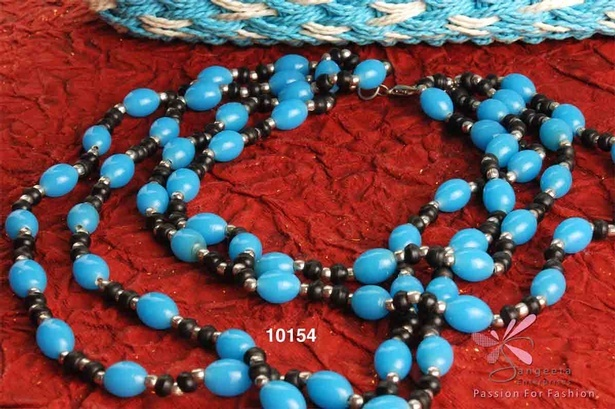 Turquoise blue and black colour beads necklace