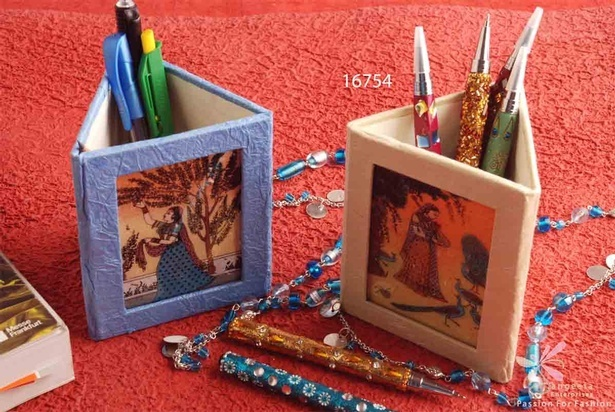 Pen stand of handmade paper, glass and gemstones - Desk Accessories by Sangeeta Enterprises