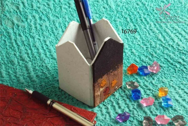 Handmade paper and fabric pen stand - Desk Accessories by Sangeeta Enterprises