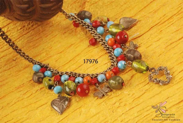 Multicolour beads and metal chain necklace