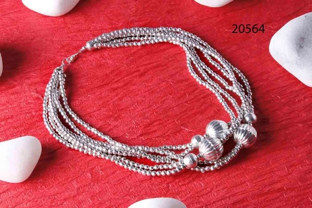 Silver plated multi-strand metal necklace at Sangeeta Enterprises