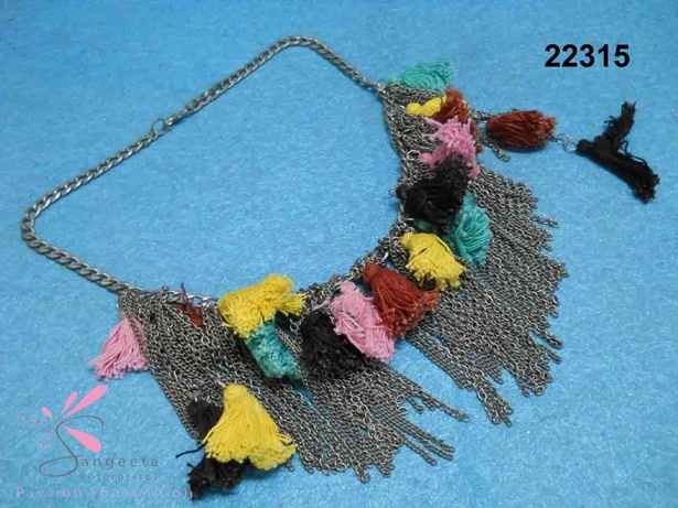 Metal and thread tassels necklace - Fancy Necklaces Online India