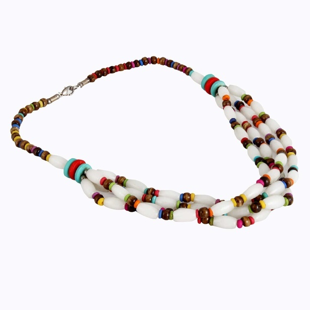 Oval Shape Multi Color Bone And Resin Bead Necklace