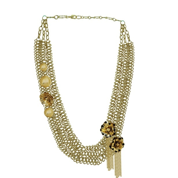 Golden Flower Metal Multi-Strand Necklace - Short Necklaces Online India