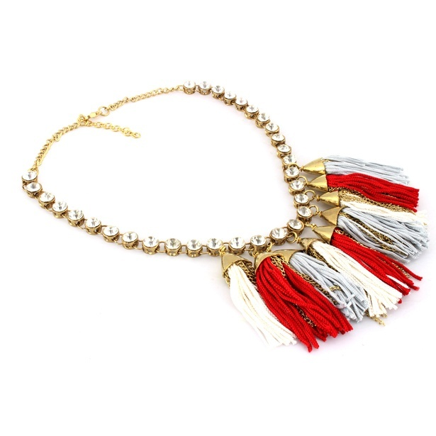 Tassel Lariat Necklace with the combination of White and Red