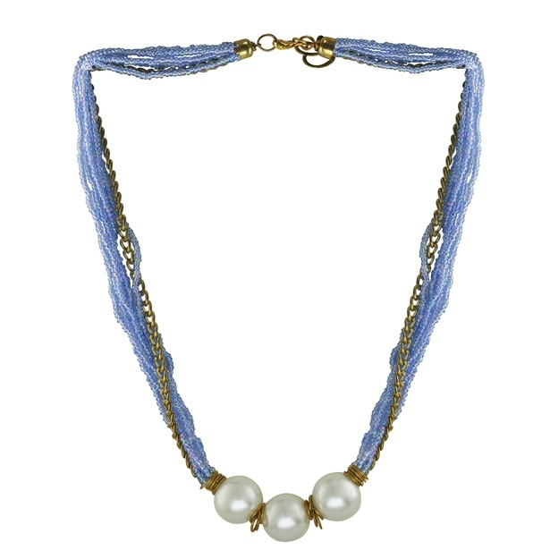 Elegant necklace made from seed beads and acrylic pearls