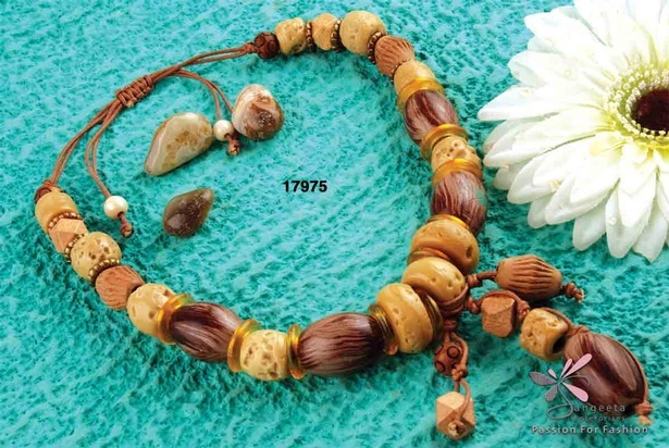 Wooden beads Y shaped Necklace - Fancy Necklaces Online India