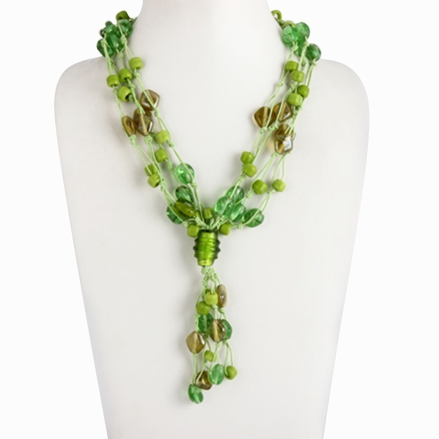 Green necklace in glass beads - Fancy Y shaped necklaces Online at Sangeeta Enterprises