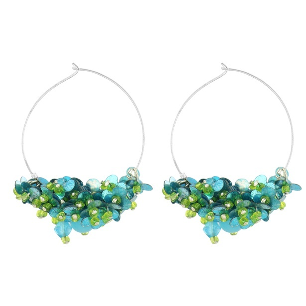 Blue and Green colour acrylic Seed Beads drop earrings